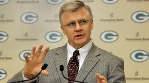 Former Green Bay Packers coach Mike Sherman speaks at a news conference in Green Bay, Wis., in this Jan. 4, 2006 file photo. (AP Photo/Mike Roemer)