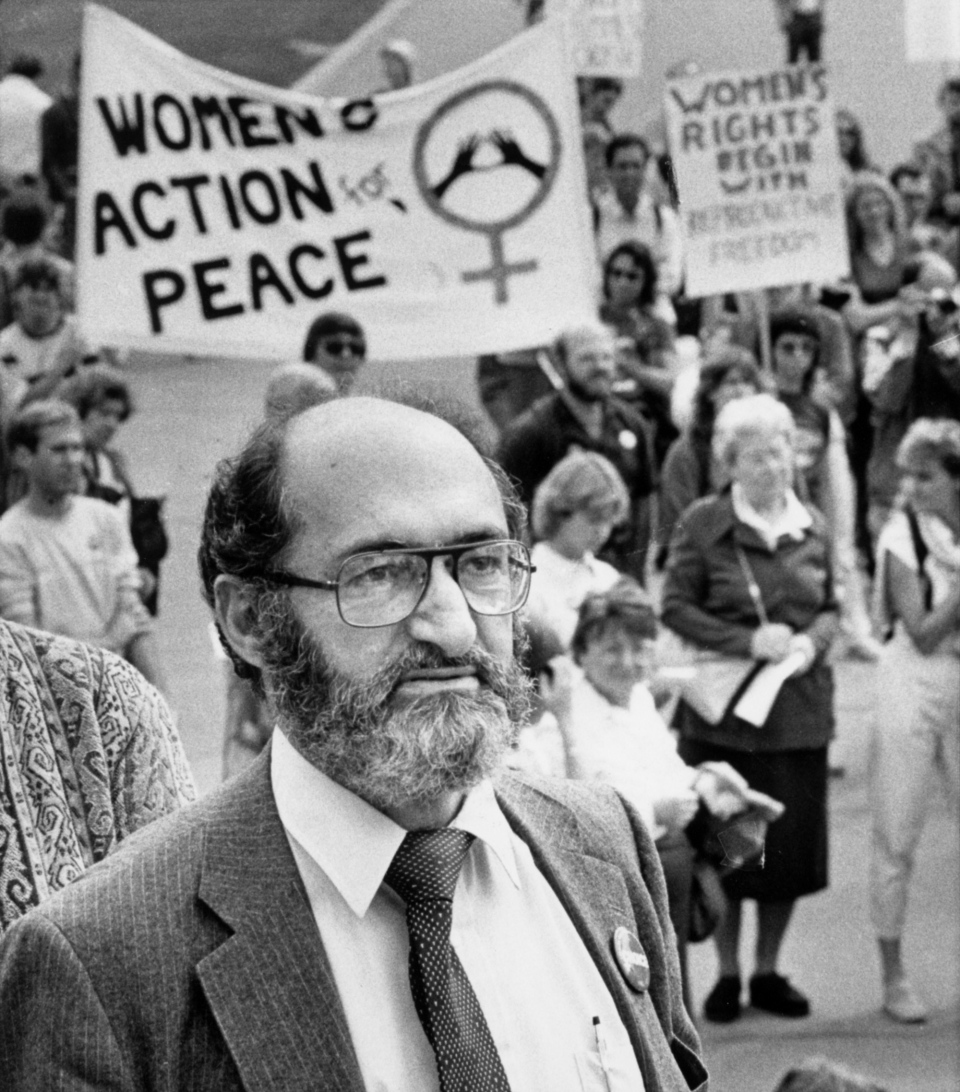 Dr. Henry Morgentaler joins demonstrators on Parliament Hill to protest the government's stand on abortion during a freedom of choice rally in Ottawa on Dec. 8, 1983. THE CANADIAN PRESS/Paul Chiasson