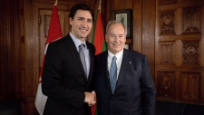 PM Trudeau and the Aga Khan on Parliament Hill