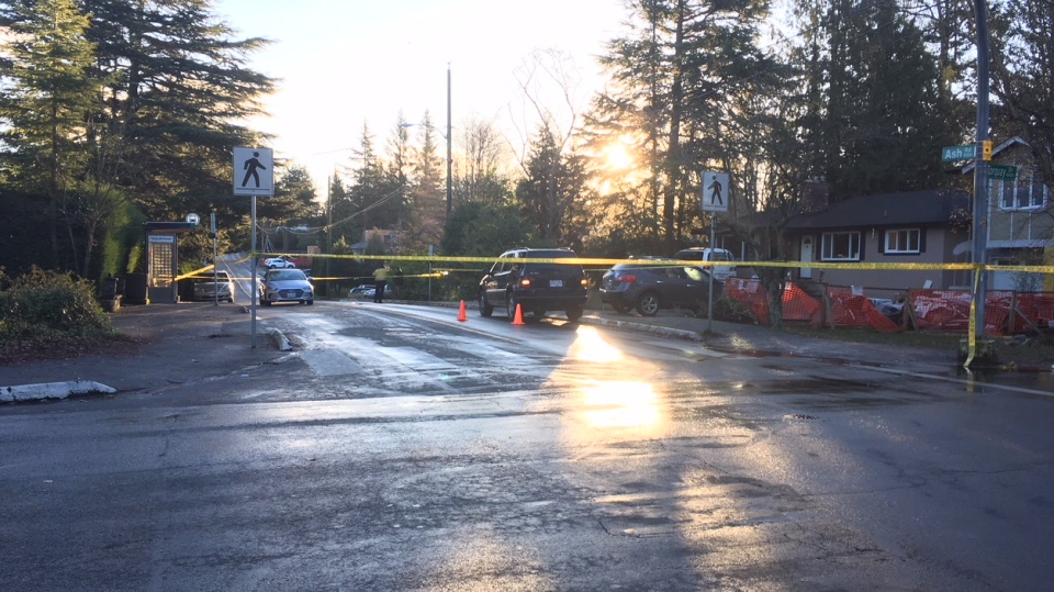 A girl was struck twice at Ash Road and Torquay Drive in Saanich Wednesday morning. Dec. 20, 2017. (CTV Vancouver Island)
