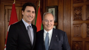 Prime Minister Justin Trudeau meets with the Aga Khan on Parliament Hill in Ottawa on Tuesday, May 17, 2016. Federal ethics commissioner Mary Dawson has concluded that Trudeau violated conflict of interest rules when he vacationed last Christmas at the private Bahamian island owned by the Aga Khan. THE CANADIAN PRESS/Sean Kilpatrick