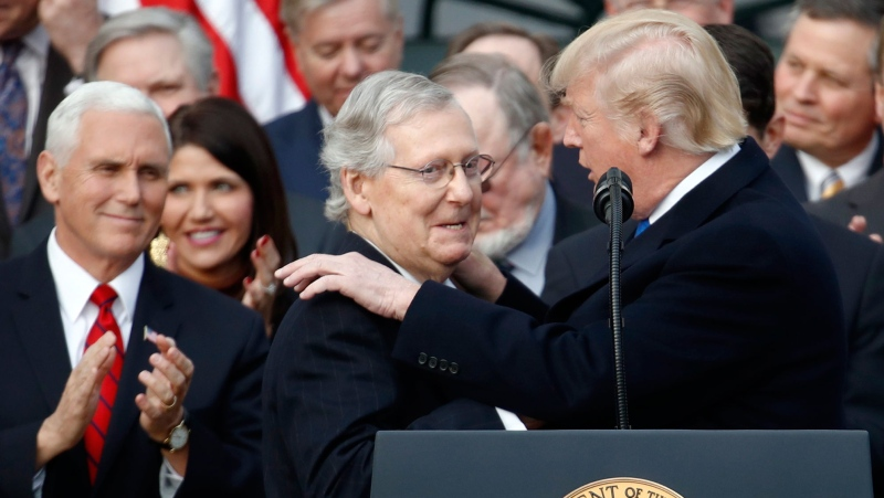U.S. President Donald Trump introduces Senate Majority Leader Sen. Mitch McConnell of Ky., during a bill passage event on the South Lawn of the White House in Washington, Wednesday, Dec. 20, 2017, to acknowledge the final passage of tax cut legislation by Congress. Vice President Mike Pence watches at left. (AP Photo/Carolyn Kaster)