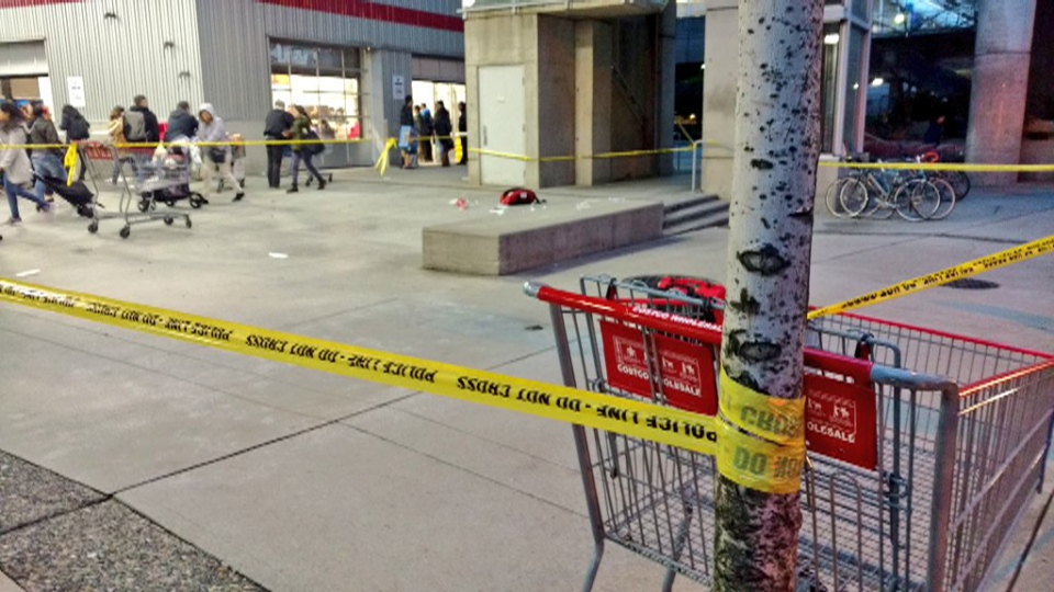 The scene of an assault outside the Costco on Expo Boulevard is seen Wednesday, Dec. 20, 2017. (Twitter / Ben Miljure)