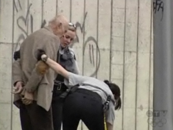 Eighty-three-year-old Zdenek Smejkal, a retired university professor, says he was unnecessarily roughed up and humiliated by RCMP officers because he was jaywalking. May 9, 2009. (CTV)