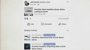 An example of Facebook's feature for fighting fake news is shown in this screenshot.