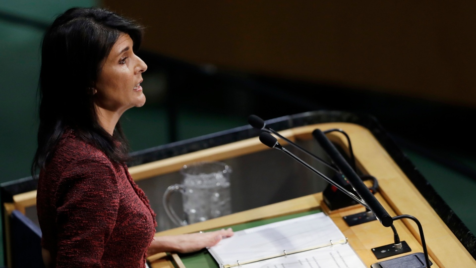 U.S. Ambassador to the United Nations Nikki Haley speaks at the UN General Assembly, Thursday, Dec. 21, 2017, at United Nations headquarters. (AP Photo/Mark Lennihan)