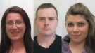 Police are asking for the public's help in locating Lynn Després (left), Christopher MacKenzie (middle) and Alyssa Saunders (right), who are all wanted on Canada-wide warrants. (Codiac RCMP)
