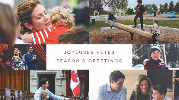 Prime Minister Justin Trudeau's card includes several photos of him with his wife Sophie, and their three children at places across Canada. 'From our family to yours' it says inside. (THE CANADIAN PRESS / HO)