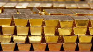 Gold bars are stacked in a vault at the U.S. West Point, in West Point, N.Y. on July 22, 2014. (AP)