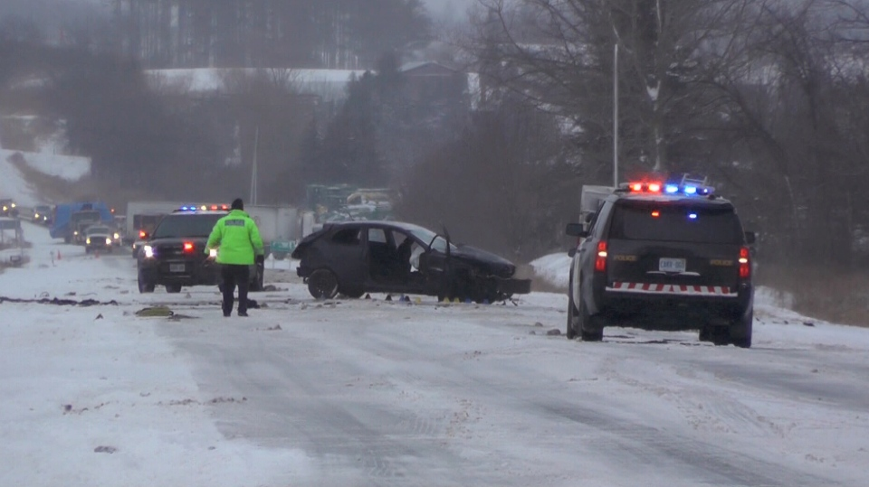 The OPP are investigating a fatal head-on crash on Hwy. 7 in Kawartha Lakes on Dec. 22, 2017 (CTV News)