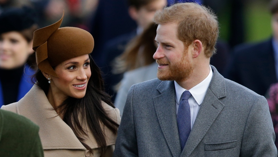 Prince Harry and his fiancee Meghan Markle arrive to attend the traditional Christmas Day service, at St. Mary Magdalene Church in Sandringham, England, Monday, Dec. 25, 2017. (AP / Alastair Grant)