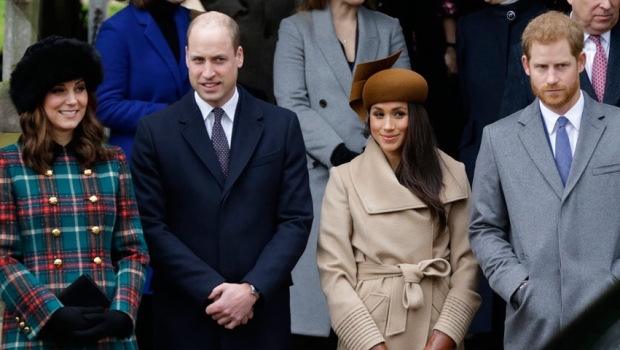 From left, Kate, Duchess of Cambridge, Prince William, Meghan Markle, Prince Harry and Prince Philip arrive to the traditional Christmas Days service, at St. Mary Magdalene Church in Sandringham, England, Monday, Dec. 25, 2017. (AP Photo/Alastair Grant)