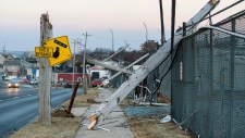 Damaged power lines are seen in Dartmouth, N.S