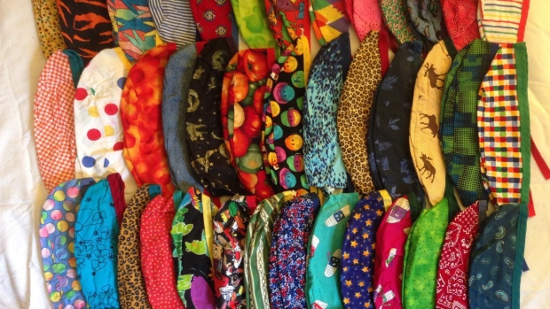 Brightly coloured cloth caps