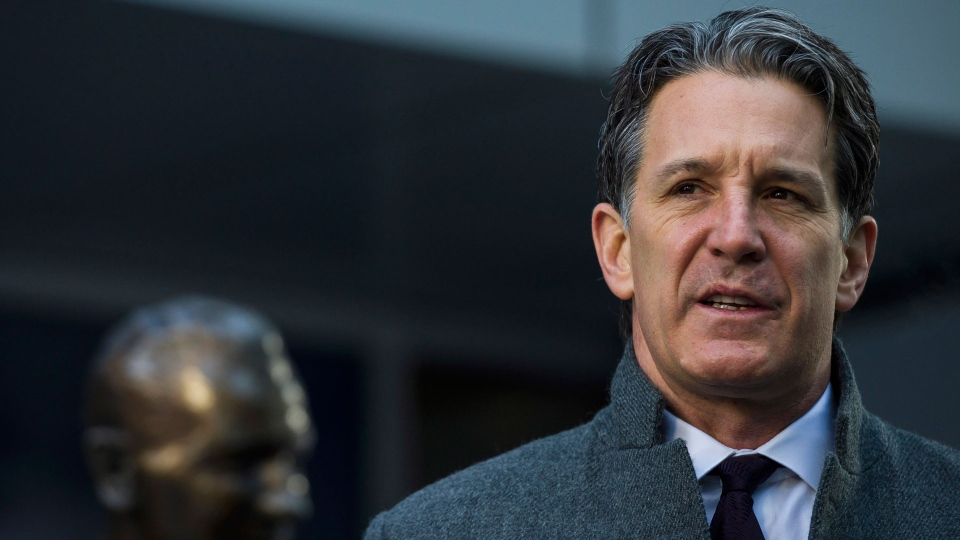 Toronto Maple Leafs president, Brendan Shanahan delivered comments at Legends Row outside the Air Canada Centre following the passing of Canadian hockey legend Johnny Bower, in Toronto on Tuesday, December 27, 2017. THE CANADIAN PRESS/Christopher Katsarov