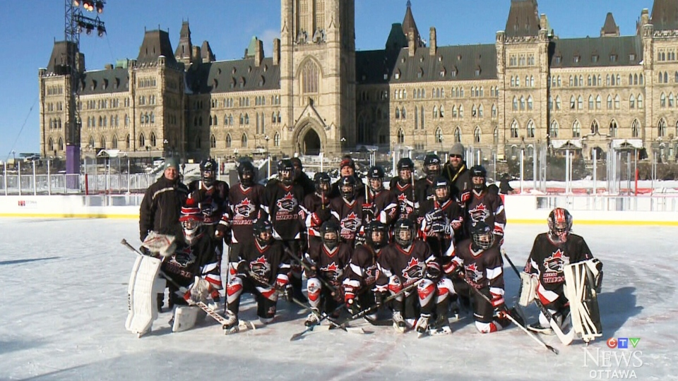 The Nepean Wildcats pose on the Canada 150 rink in Ottawa. (CTV Ottawa)