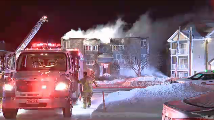 Firefighters say the building was badly damaged in the fire, and all tenants had to be temporarily relocated. (CTV Montreal)
