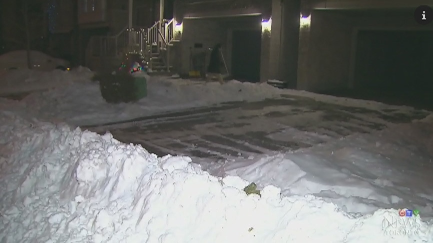 A man from Scarborough, Ont., was frustrated to return home from a trip and find almost a metre of snow blocking his driveway on Dec. 26, 2017. (CTV Toronto)