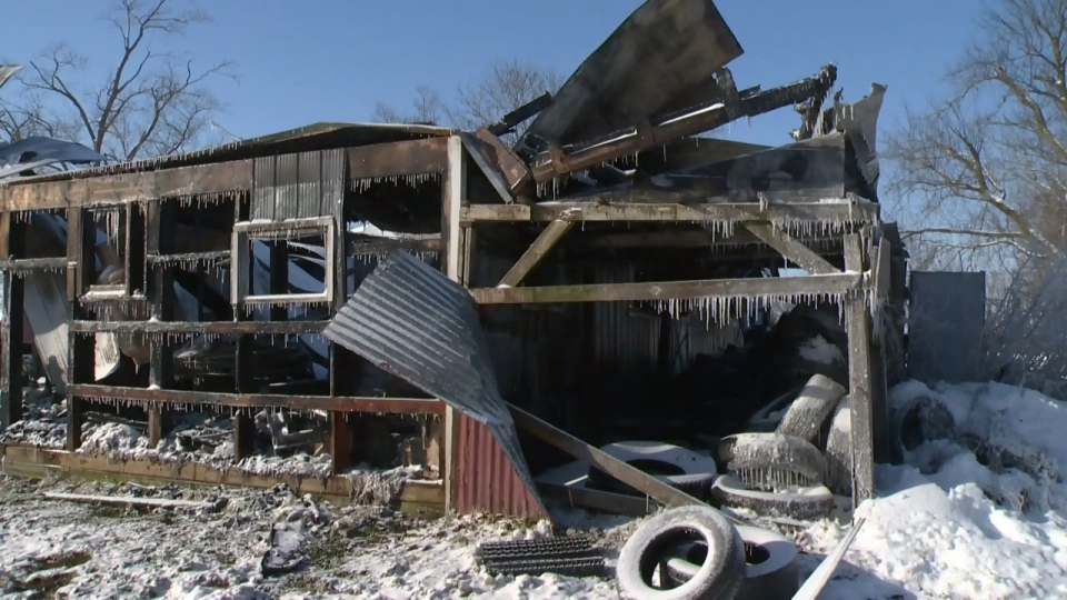 A two-storey shed on Concession Road 8 near Moorefield was destroyed by fire on Friday, Dec. 29, 2017.