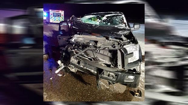 Coaldale - crash involving pickup and snowplow