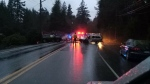 Sooke Road was shut down both ways at Parkland Road after a reported head-on collision between two vehicles. Dec. 29, 2017. (Facebook)