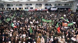 Iranian protesters chant slogans at a rally in Tehran, Iran, Saturday, Dec. 30, 2017. (AP Photo/Ebrahim Noroozi)