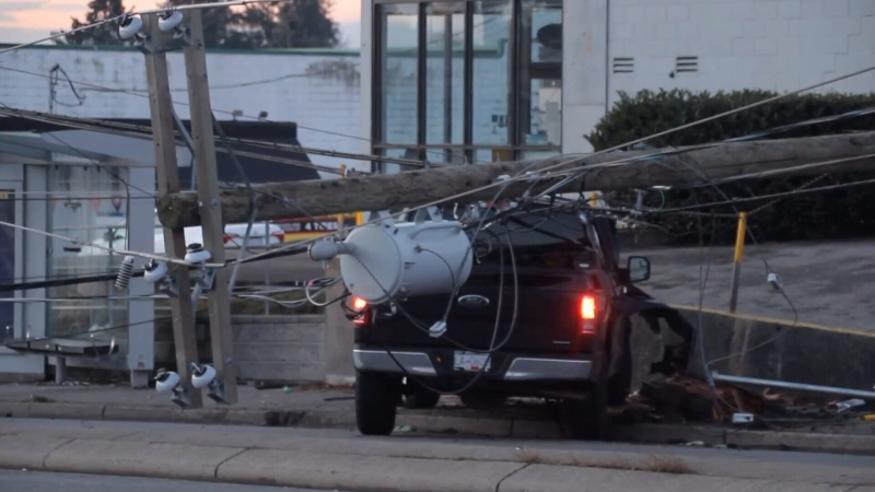 Vehicle is seen crashing into a hydro pole. (File photo)