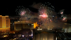New Year's fireworks are seen along the Las Vegas Strip from the top of the Trump International, in Las Vegas Monday, Jan. 1, 2018. (Richard Brian /Las Vegas Review-Journal via AP)