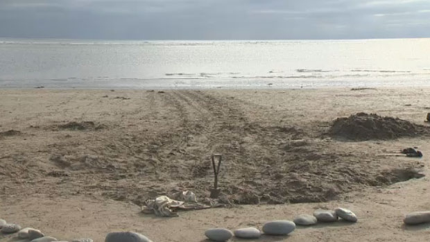 The pilot whale and rescuers left prints in the sand at Rainbow Haven beach east of Dartmouth, N.S.
