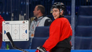 Canada's Dillon Dube smiles during team practice at the IIHF World Junior Hockey Championship in Buffalo, N.Y., on Jan. 1, 2018. THE CANADIAN PRESS/Mark Blinch