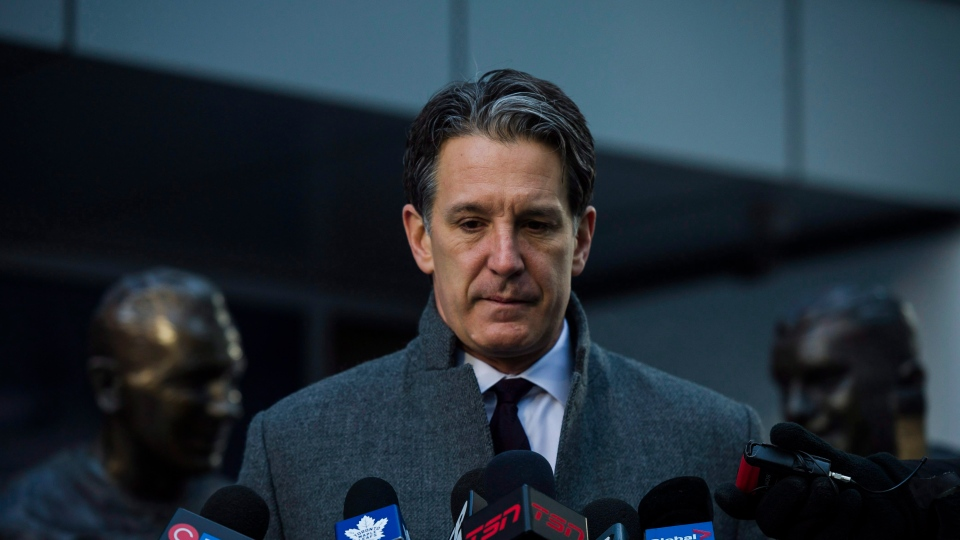 Toronto Maple Leafs president, Brendan Shanahan delivered comments at Legends Row outside the Air Canada Centre following the passing of Canadian hockey legend Johnny Bower, in Toronto on Tuesday, December 27, 2017. The death of the Hockey Hall of Famer has unleashed a flood of tributes from within the hockey world and beyond. THE CANADIAN PRESS/Christopher Katsarov