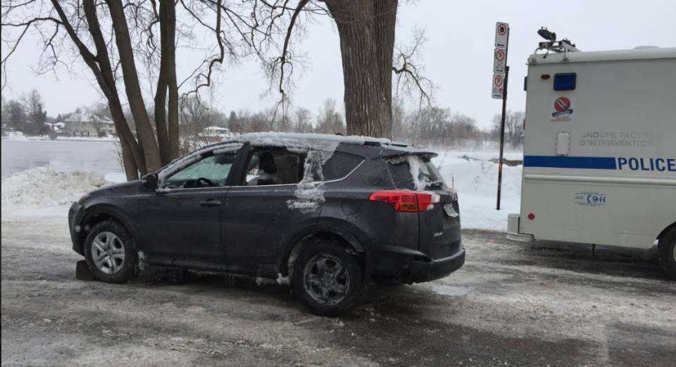 The Toyota Rav 4, pictured here after being pulled from the waters, is believed by police to be a vehicle stolen from Cote-des-Neiges earlier this week. No body was recovered from the water. (CTV Montreal)
