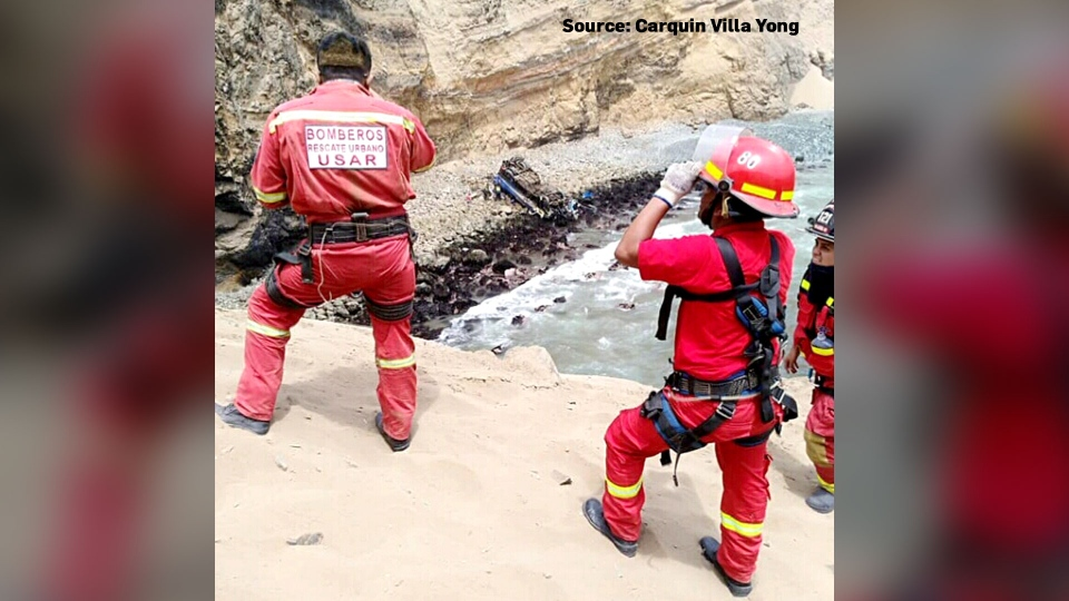 The bus fell off a cliff and landed about 80 metres below on a beach, Peruvian officials said.