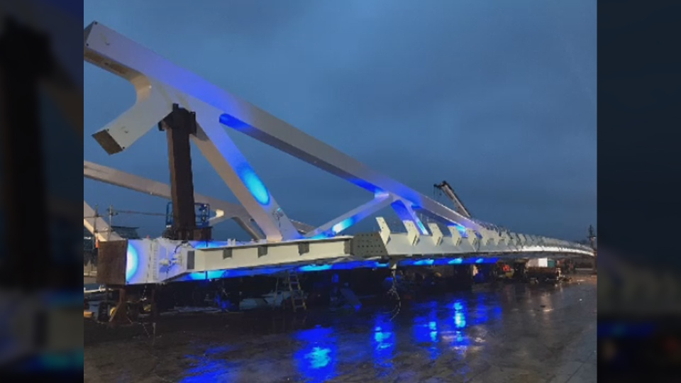 The new span for the Johnson Street Bridge will be bathed in blue light once its installed. (City of Victoria)