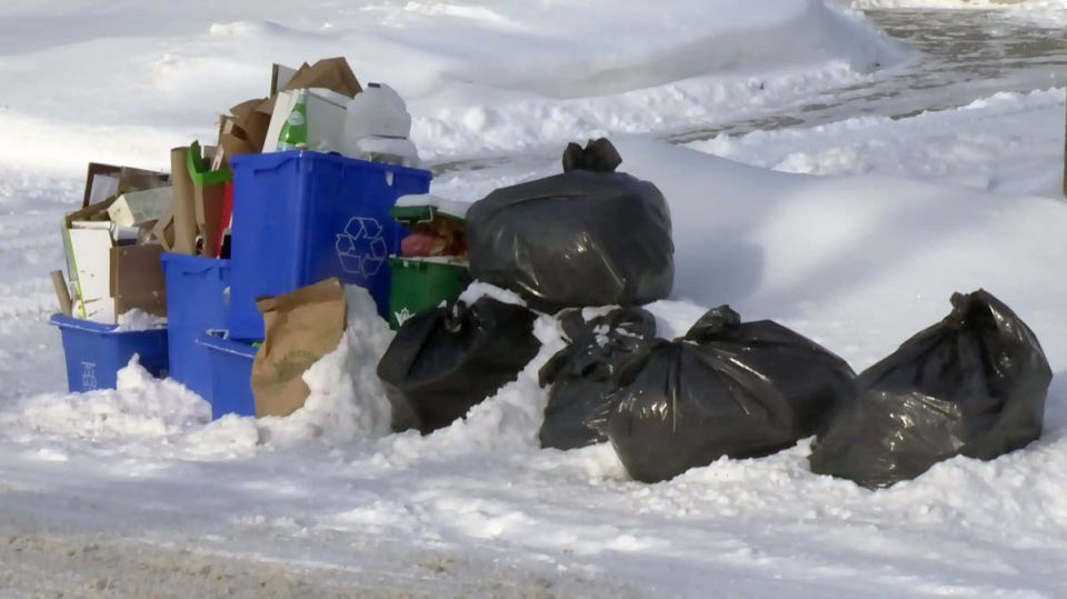 Garbage, recycling and a green bin are seen at the curbside along a street in Elmira on Tuesday, Jan. 2, 2018.
