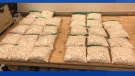 Police seized about 28,000 methamphetamine pills during a traffic stop in Saint-Léonard, N.B., on Tuesday, Jan. 2, 2018.