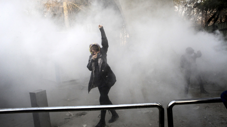 Protest at Tehran University on Dec. 30, 2017. (AP)