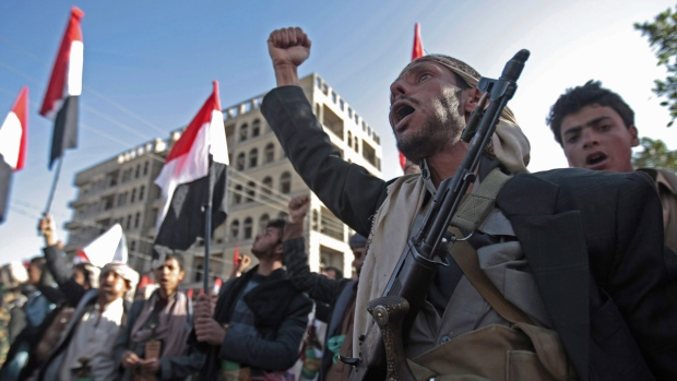 Supporters of Shiite Houthi rebels in Sanaa, Yemen