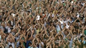 Protesters in Azadi (Freedom) square, Tehran, Iran, on June 15, 2009. (Ben Curtis / AP)