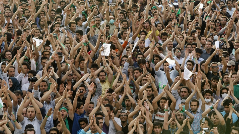 Protesters in Azadi (Freedom) square, Tehran, Iran, on June 15, 2009. (Ben Curtis / AP)