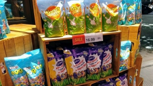 Easter items on display in a Toronto grocery store