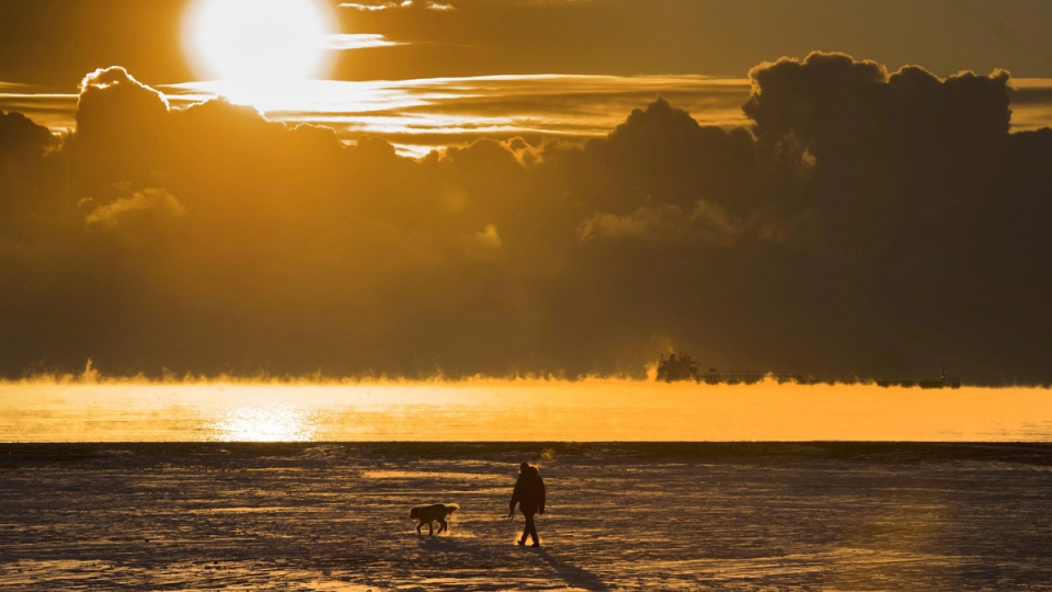 A man walks his dog across the snow covered beach while a cargo ship sits in the steaming fog of Lake Ontario in Toronto on Dec. 27, 2017. (THE CANADIAN PRESS / Frank Gunn)