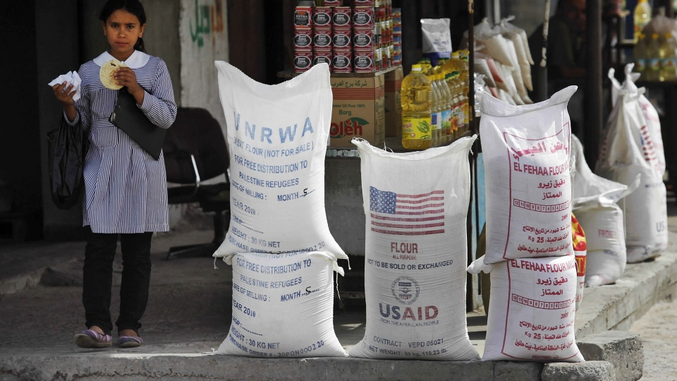 Sacks of flour, some part of humanitarian aid by UNRWA and USAID, but now offered for sale by a vendor, sit outside a food store in Gaza City, June 6, 2010. (AP / Lefteris Pitarakis)