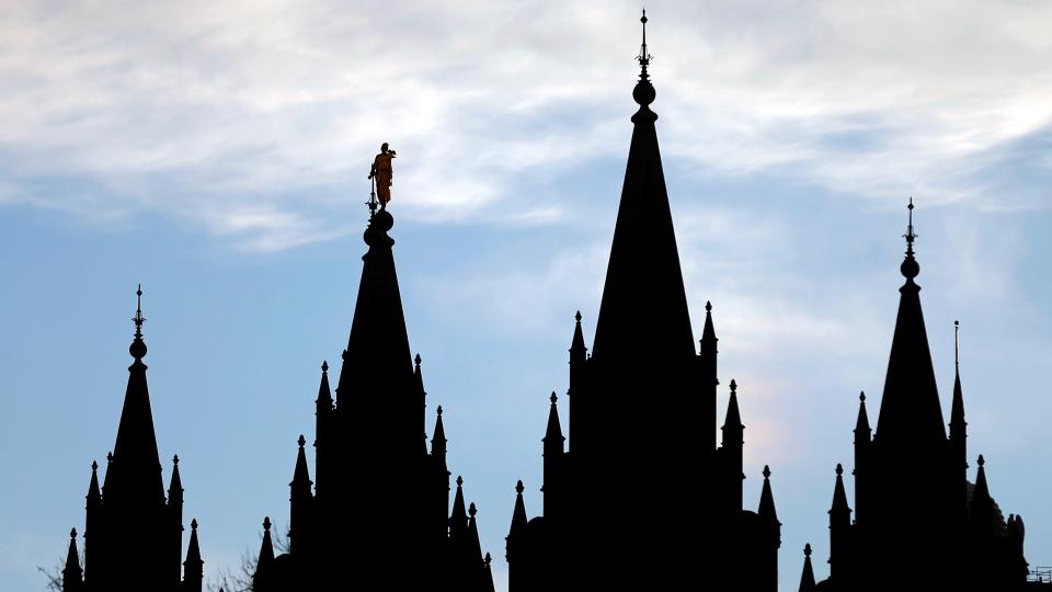 The angel Moroni statue atop the Salt Lake Temple at Temple Square in Salt Lake City, on  Jan. 3, 2018. (AP / Rick Bowmer)