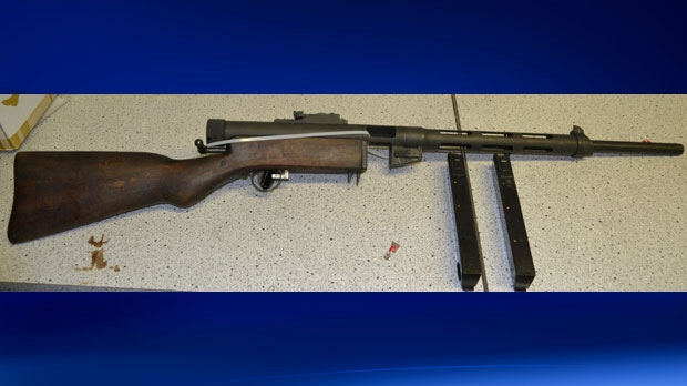 Innisfail RCMP seized a sawed-off shotgun, a sub-machine gun and various other items in two traffic stops. (Supplied)