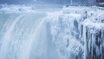 Visitors take photographs at the brink of the Horseshoe Falls in Niagara Falls, Ont., as cold weather continues through much of the province, Tuesday, January 2, 2018. (THE CANADIAN PRESS/Aaron Lynett)