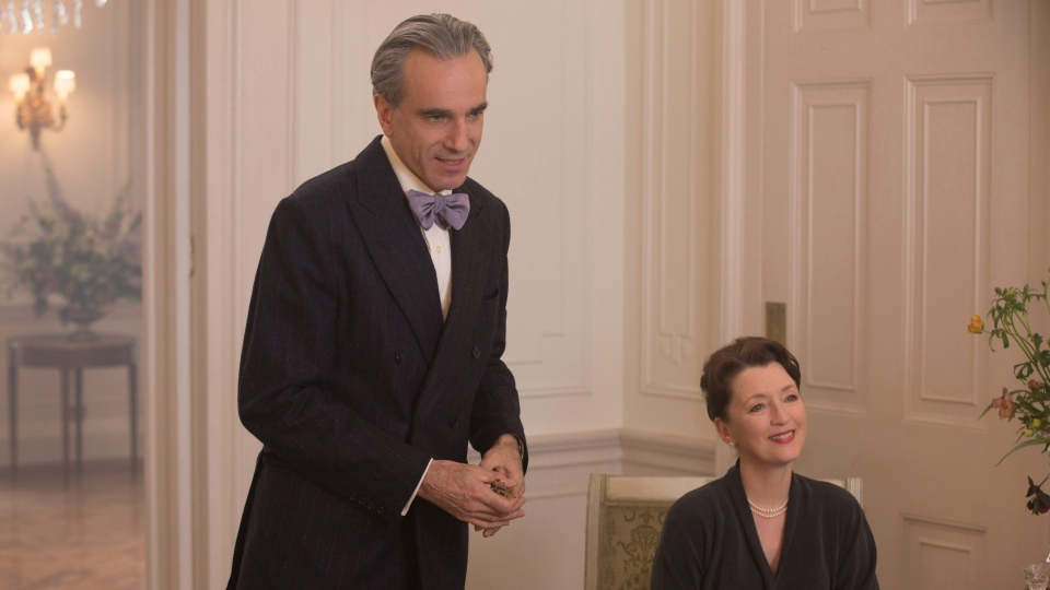 "In this image released by Focus Features, Daniel Day-Lewis, left, and Lesley Manville appear in a scene from ""Phantom Thread."" (Laurie Sparham/Focus Features via AP)"
