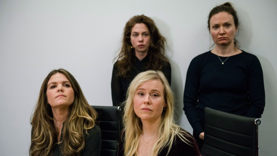 Plaintiffs (left to right) Diana Bentley, Hannah Miller, Kristin Booth and Patricia Fagan attend a press conference after filing lawsuits alleging sexual harassment from Souplpepper Theatre Company director Albert Schultz, in Toronto, on Thursday, January 4, 2018. THE CANADIAN PRESS/Christopher Katsarov