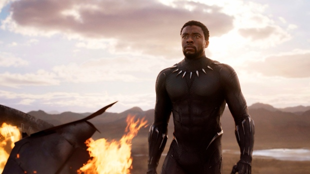 "This image released by Disney and Marvel Studios' shows Chadwick Boseman in a scene from ""Black Panther,"" in theaters on Feb. 16, 2018. (Marvel Studios/Disney via AP)"