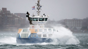 The Halifax Transit ferry amid stormy seas